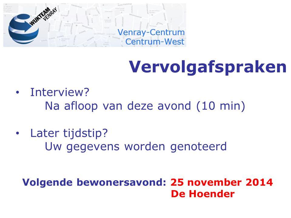 Volgende bewonersavond: 25 november 2014