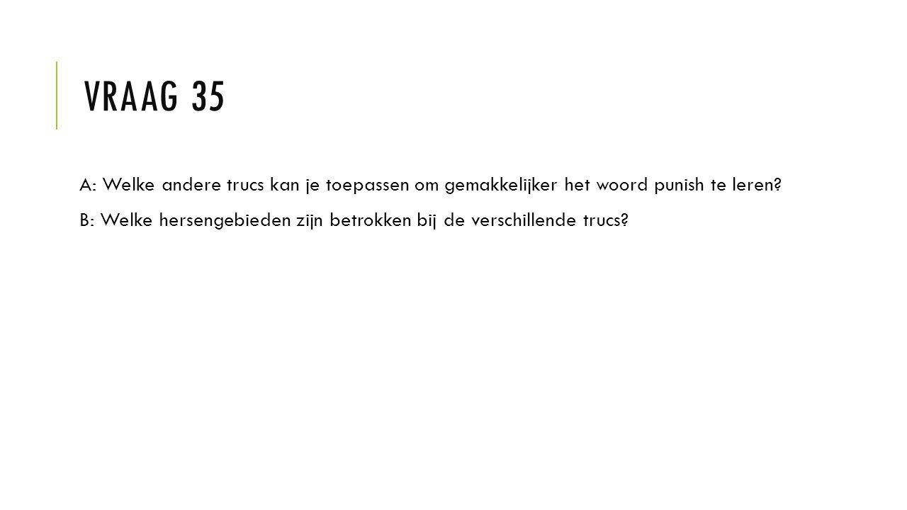 Vraag 35 A: Welke andere trucs kan je toepassen om gemakkelijker het woord punish te leren
