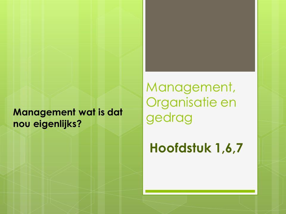 Management, Organisatie en gedrag Hoofdstuk 1,6,7