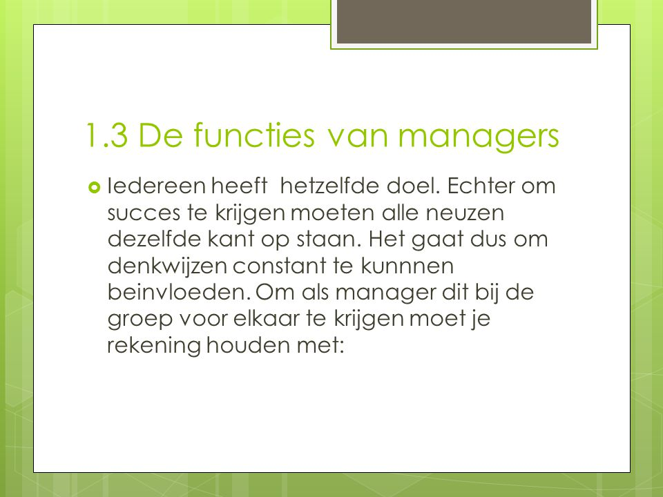 1.3 De functies van managers
