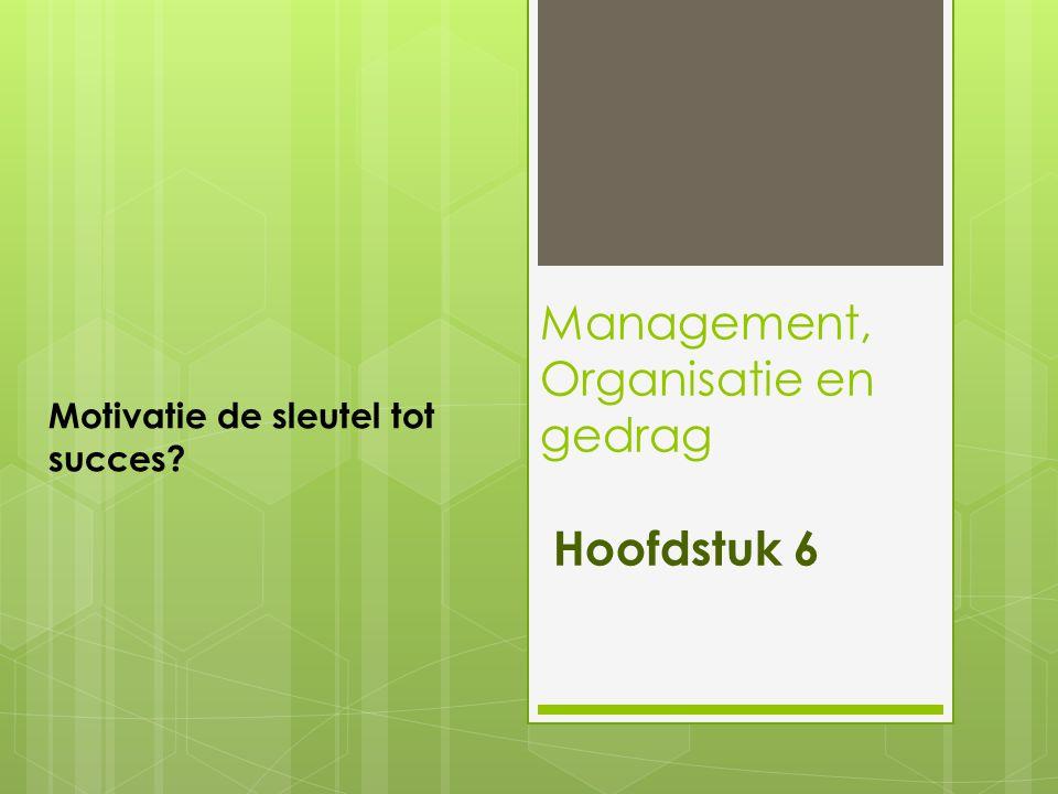 Management, Organisatie en gedrag Hoofdstuk 6