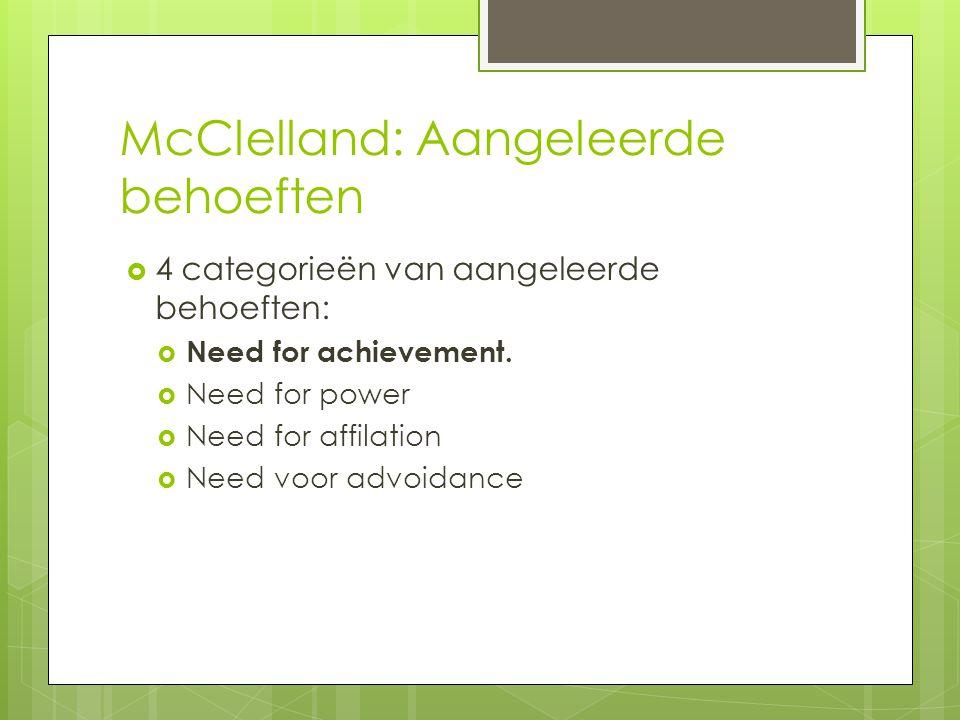 McClelland: Aangeleerde behoeften