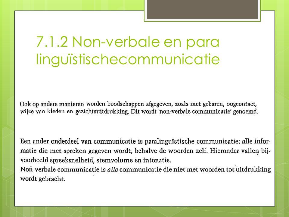7.1.2 Non-verbale en para linguïstischecommunicatie