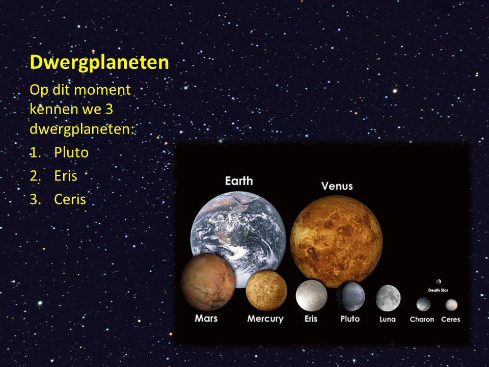 Dwergplaneten Op dit moment kennen we 3 dwergplaneten: Pluto Eris