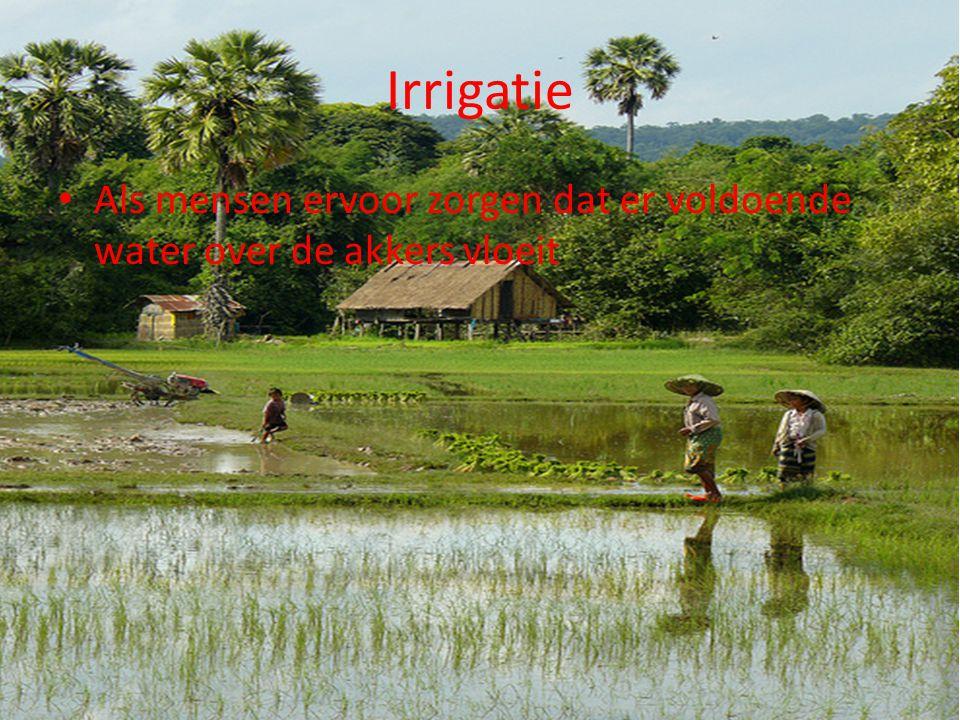 Irrigatie Als mensen ervoor zorgen dat er voldoende water over de akkers vloeit