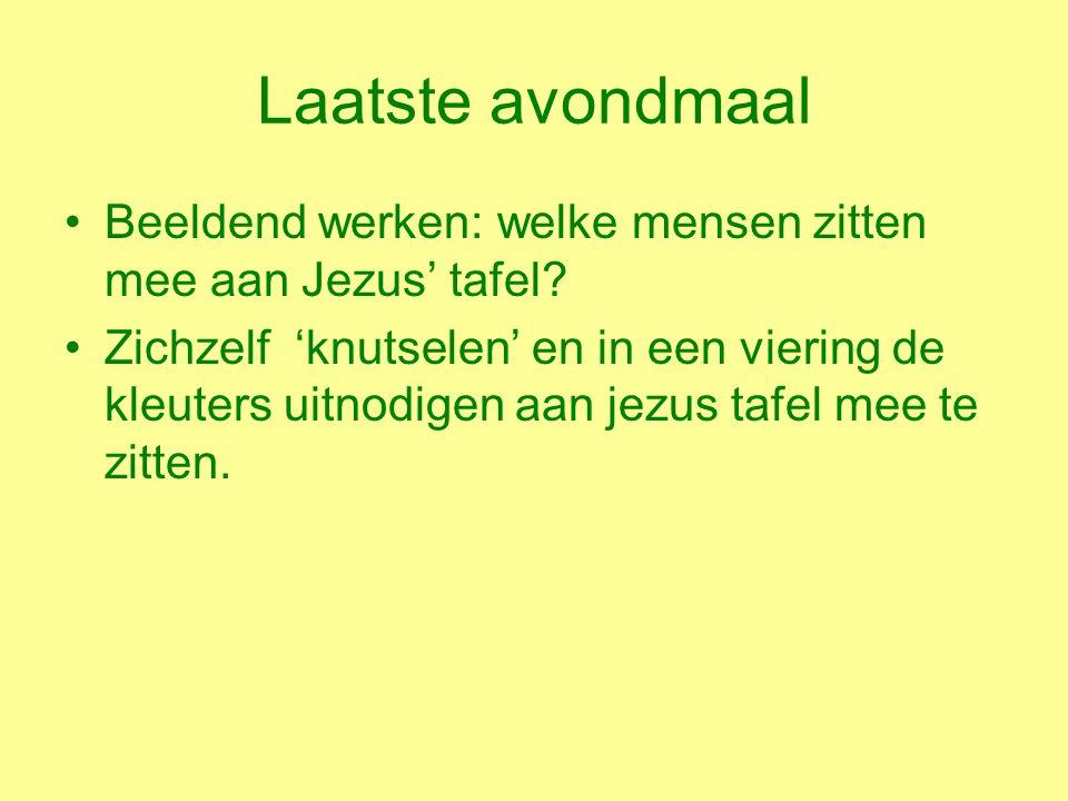 Laatste avondmaal Beeldend werken: welke mensen zitten mee aan Jezus' tafel