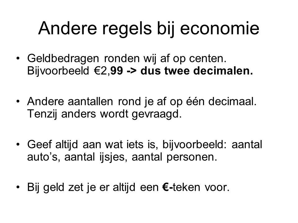 Andere regels bij economie