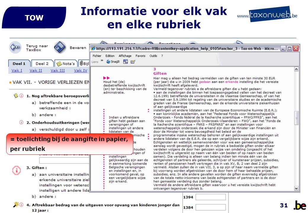 Informatie voor elk vak en elke rubriek