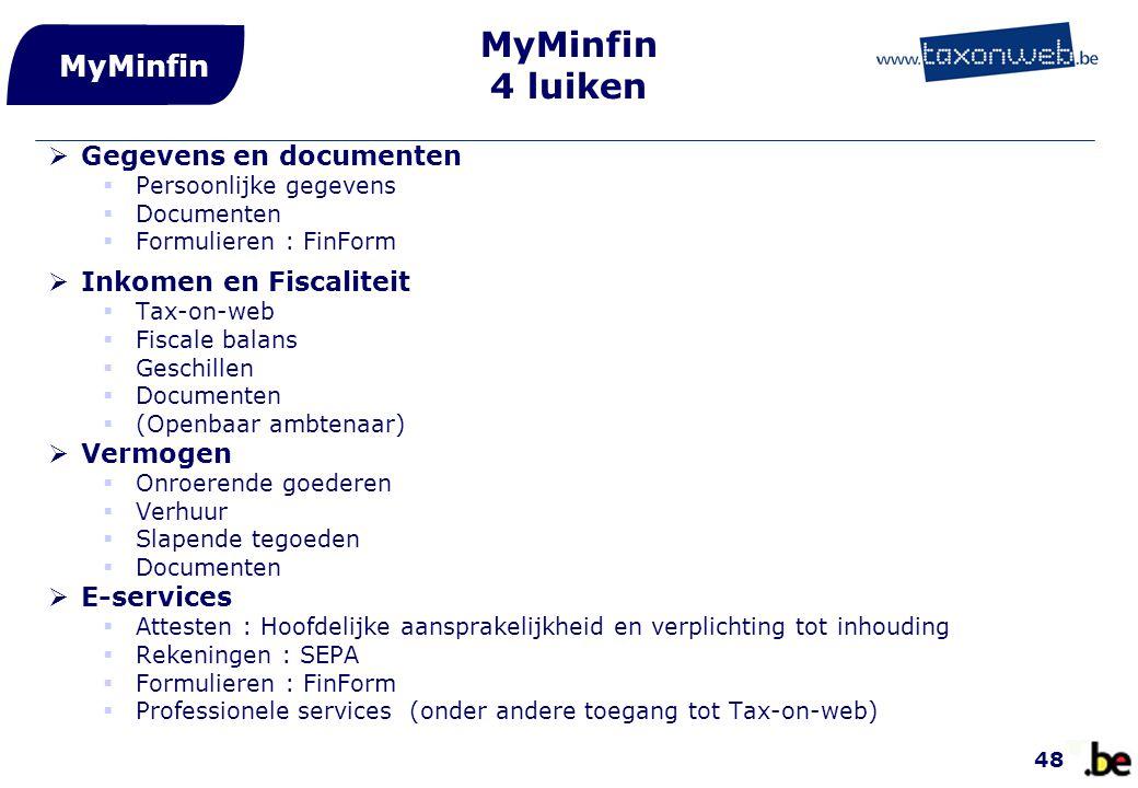 MyMinfin 4 luiken MyMinfin Gegevens en documenten