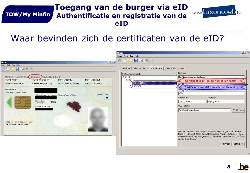 Waar bevinden zich de certificaten van de eID