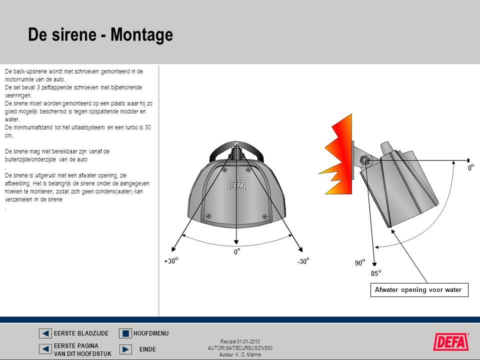 De sirene - Montage De back-upsirene wordt met schroeven gemonteerd in de motorruimte van de auto.