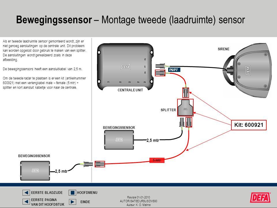Bewegingssensor – Montage tweede (laadruimte) sensor
