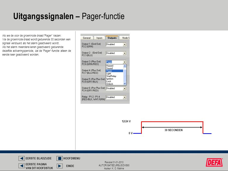 Uitgangssignalen – Pager-functie