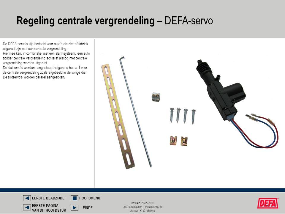 Regeling centrale vergrendeling – DEFA-servo
