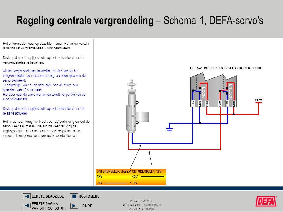 Regeling centrale vergrendeling – Schema 1, DEFA-servo s