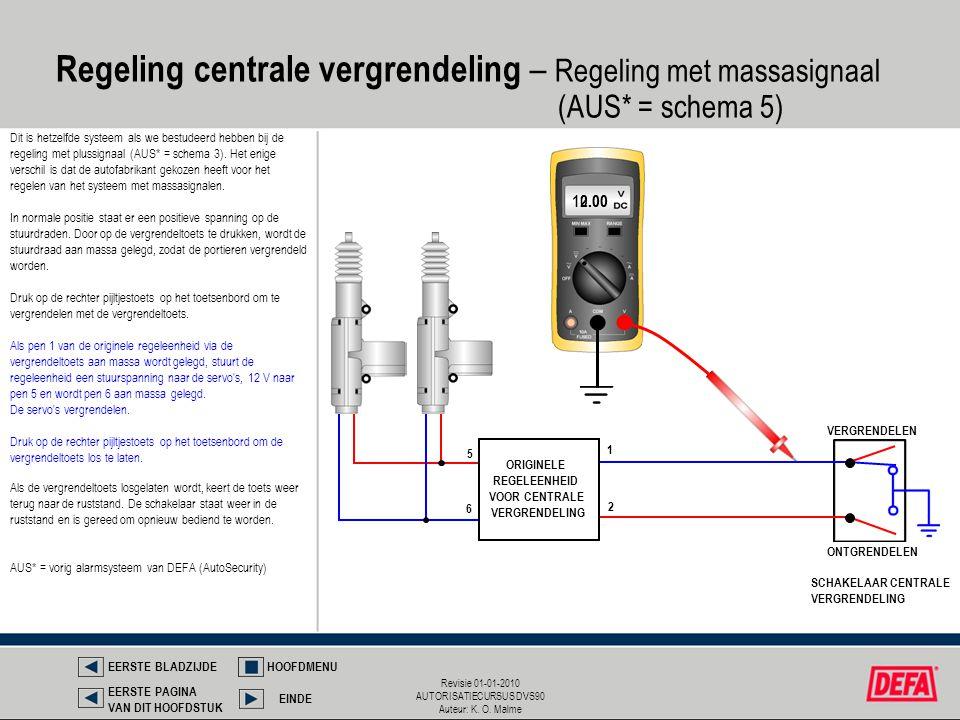 Regeling centrale vergrendeling – Regeling met massasignaal. (AUS