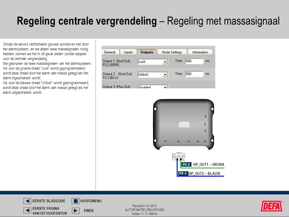 Regeling centrale vergrendeling – Regeling met massasignaal