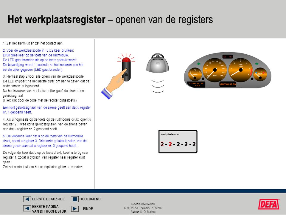 Het werkplaatsregister – openen van de registers