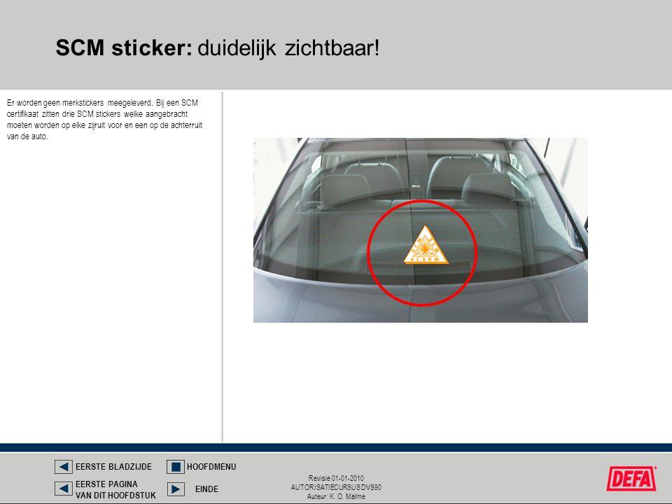 SCM sticker: duidelijk zichtbaar!