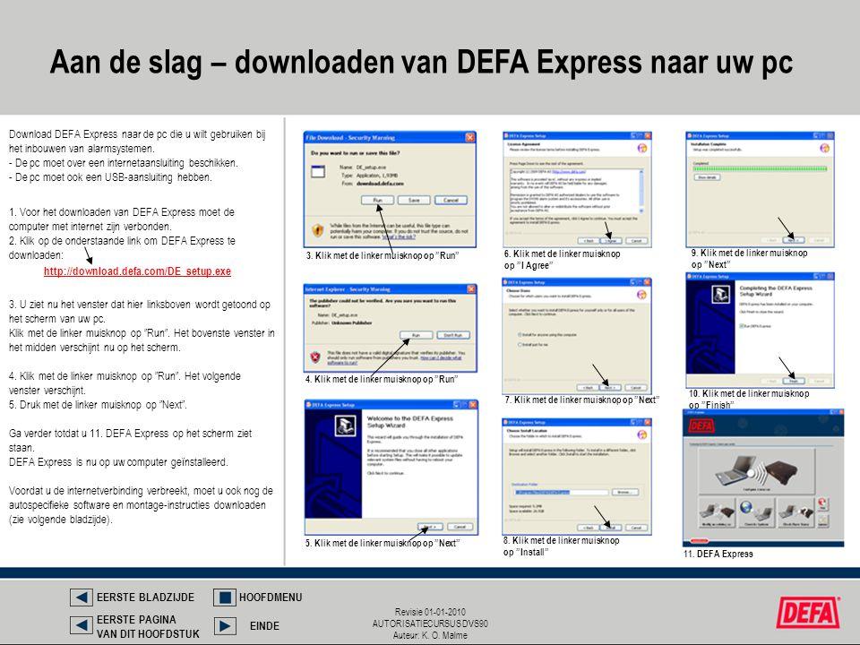 Aan de slag – downloaden van DEFA Express naar uw pc
