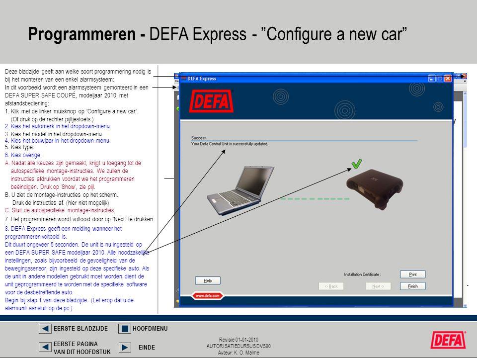 Programmeren - DEFA Express - Configure a new car