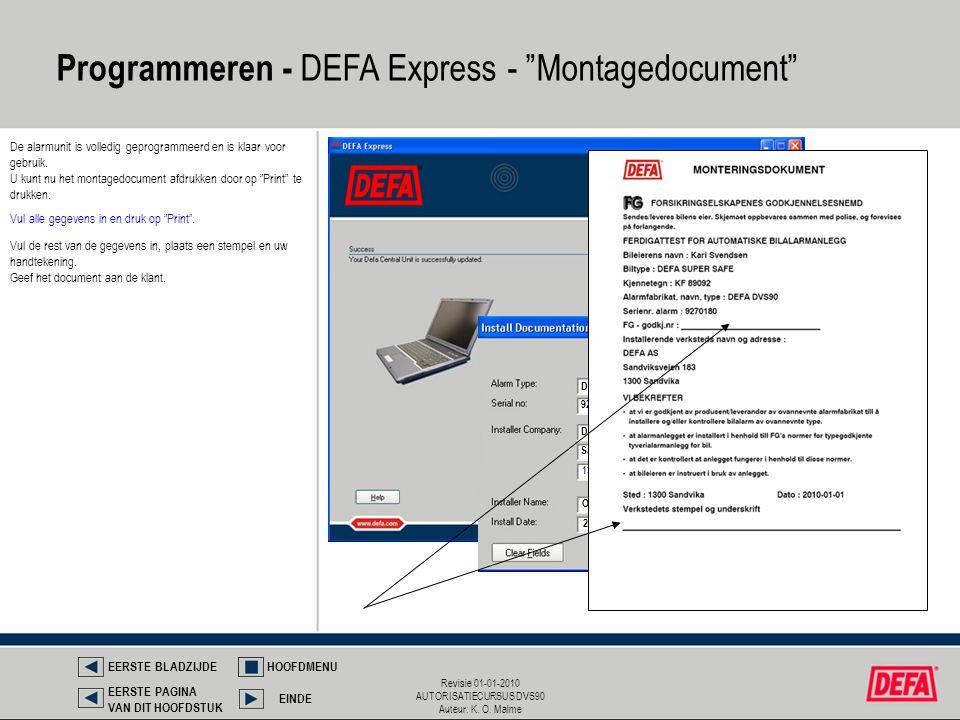 Programmeren - DEFA Express - Montagedocument