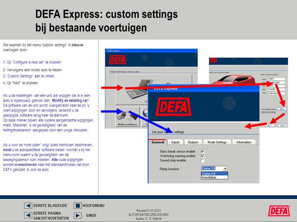 DEFA Express: custom settings bij bestaande voertuigen