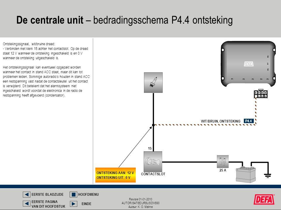 De centrale unit – bedradingsschema P4.4 ontsteking