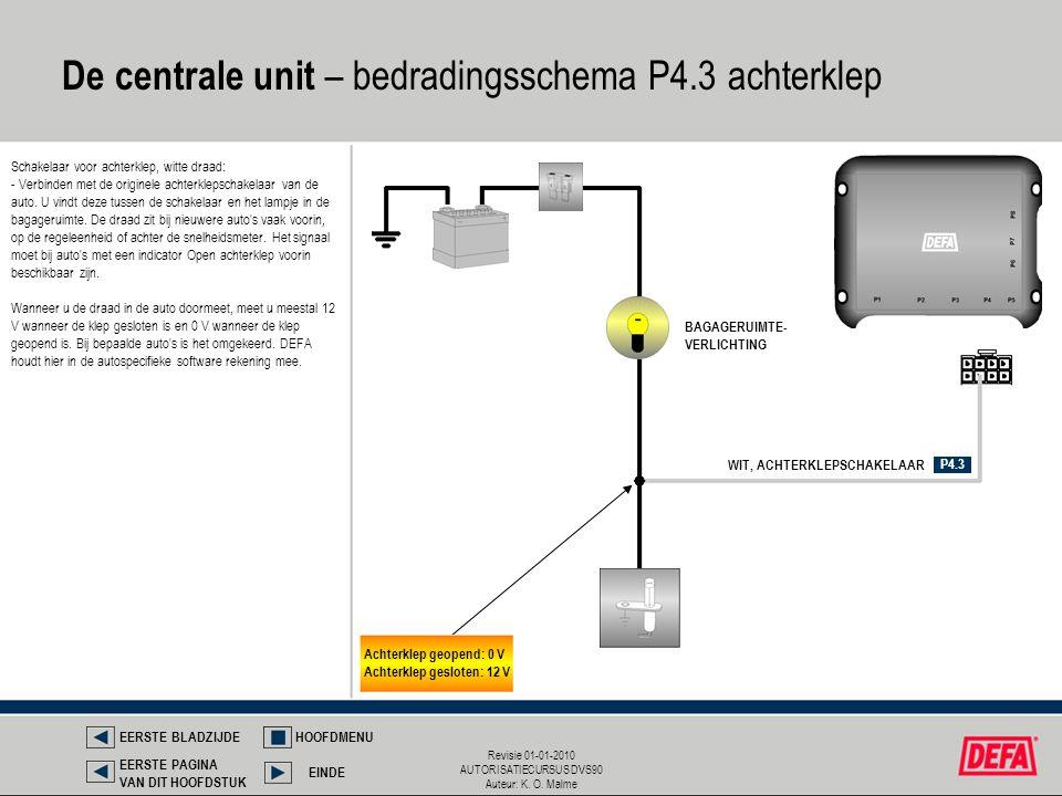 De centrale unit – bedradingsschema P4.3 achterklep