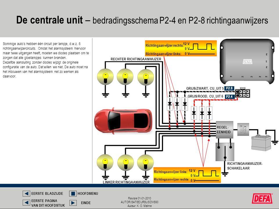 De centrale unit – bedradingsschema P2-4 en P2-8 richtingaanwijzers