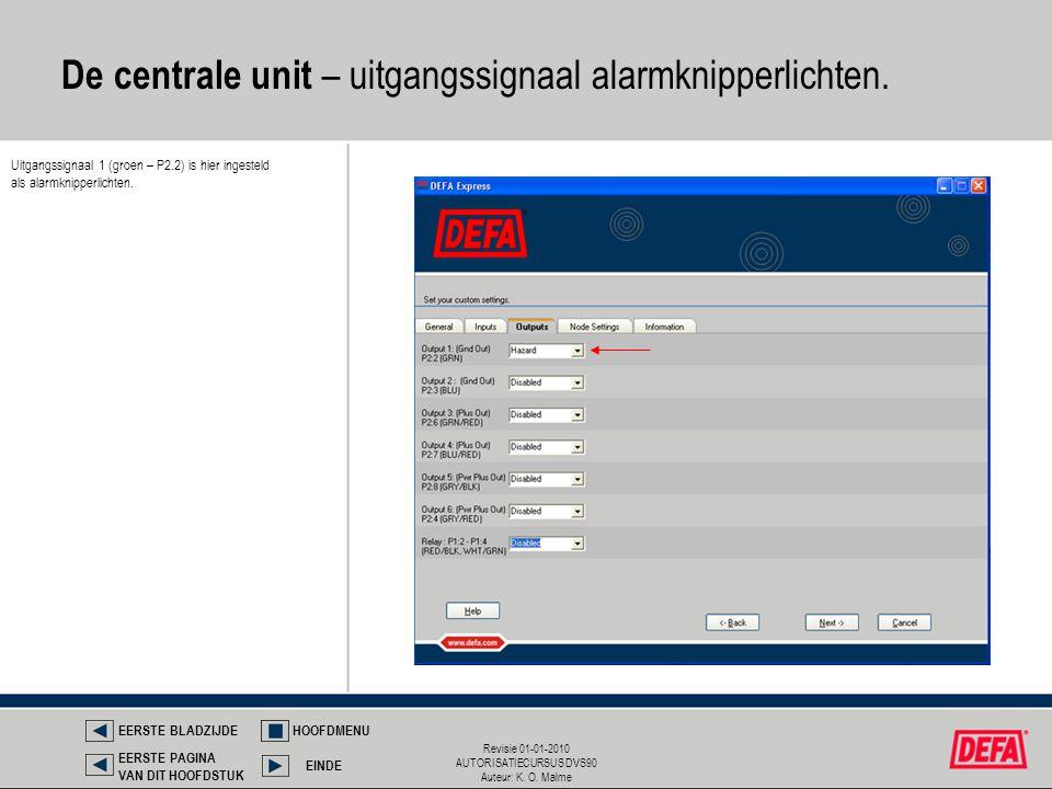 De centrale unit – uitgangssignaal alarmknipperlichten.