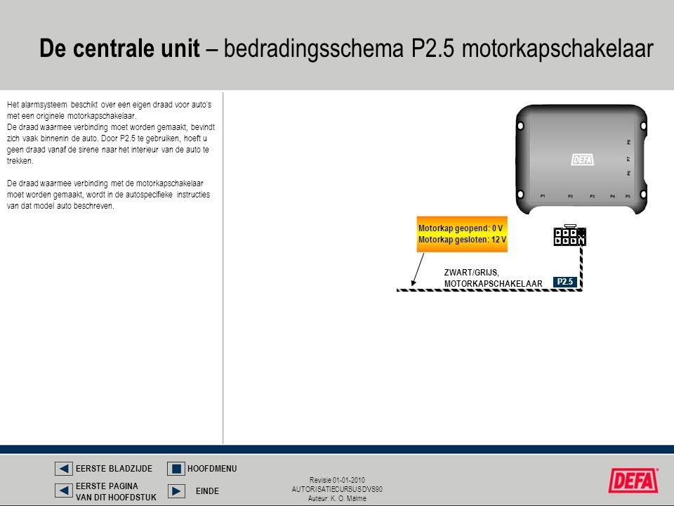 De centrale unit – bedradingsschema P2.5 motorkapschakelaar