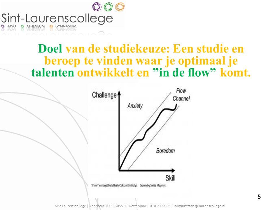 Doel van de studiekeuze: Een studie en beroep te vinden waar je optimaal je talenten ontwikkelt en in de flow komt.