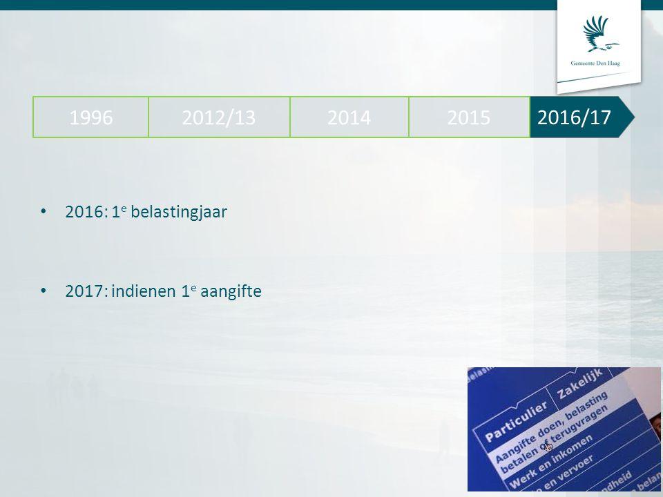 2016/17 2012/13 2014 2015 1996 2016: 1e belastingjaar 2017: indienen 1e aangifte