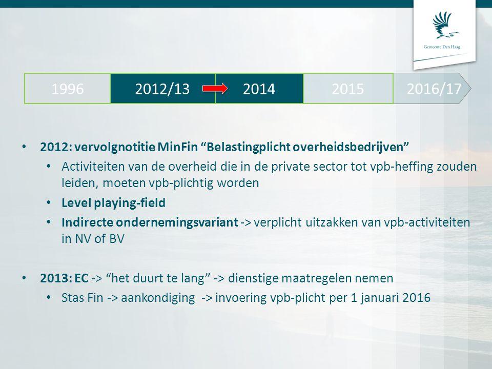 2016/17 2012/13. 2014. 2015. 1996. 2012: vervolgnotitie MinFin Belastingplicht overheidsbedrijven