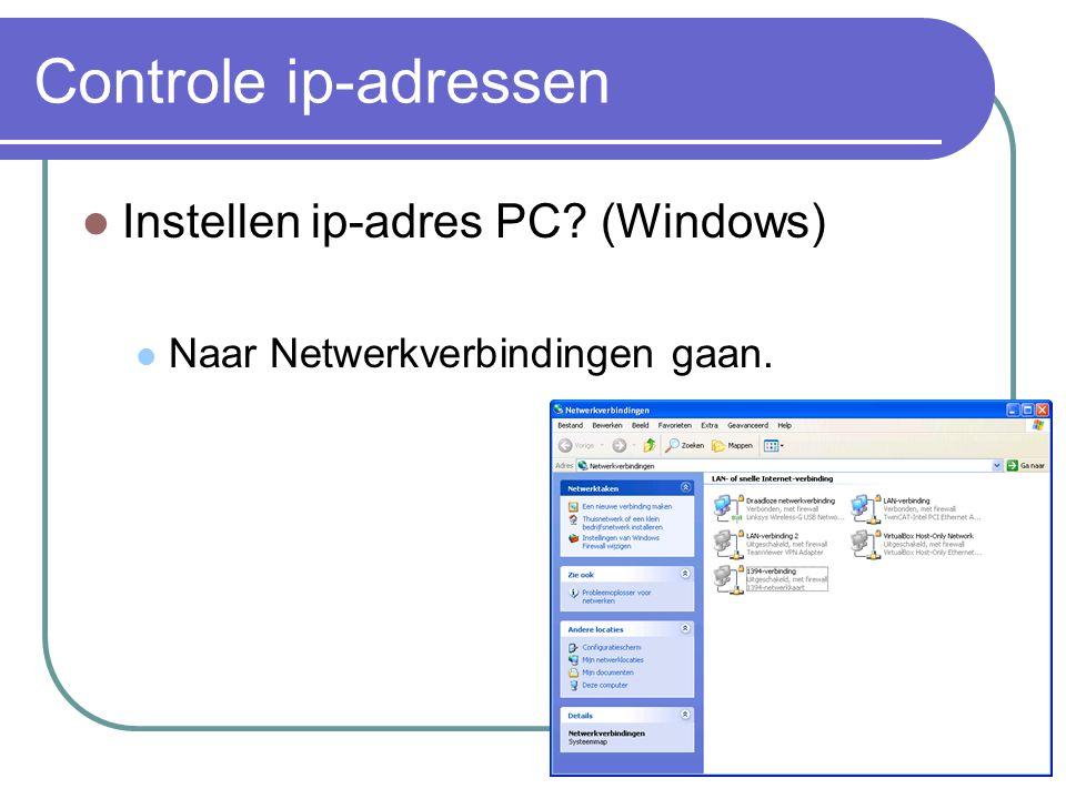 Controle ip-adressen Instellen ip-adres PC (Windows)