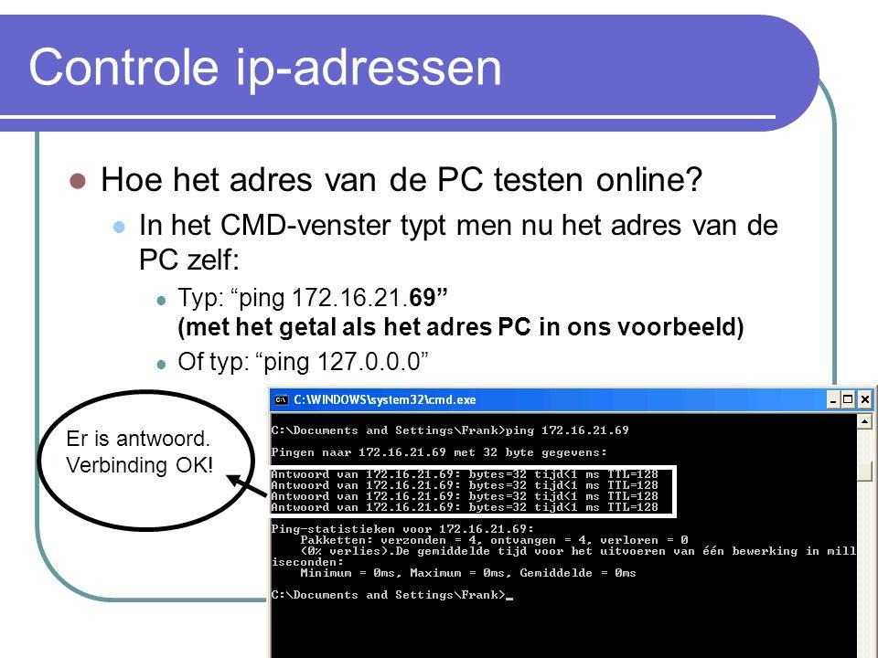 Controle ip-adressen Hoe het adres van de PC testen online