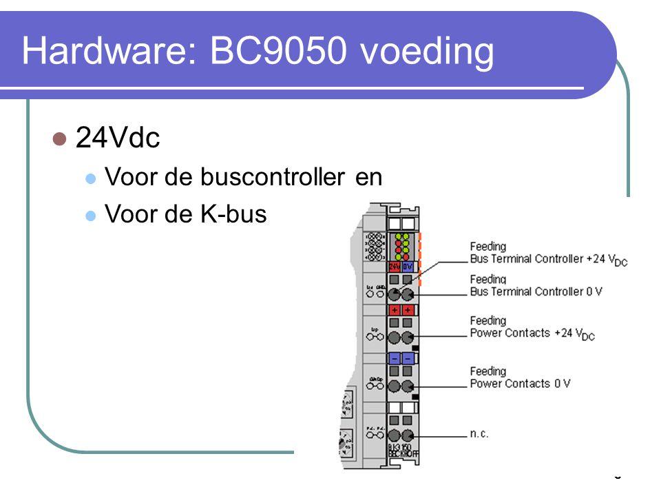 Hardware: BC9050 voeding 24Vdc Voor de buscontroller en Voor de K-bus
