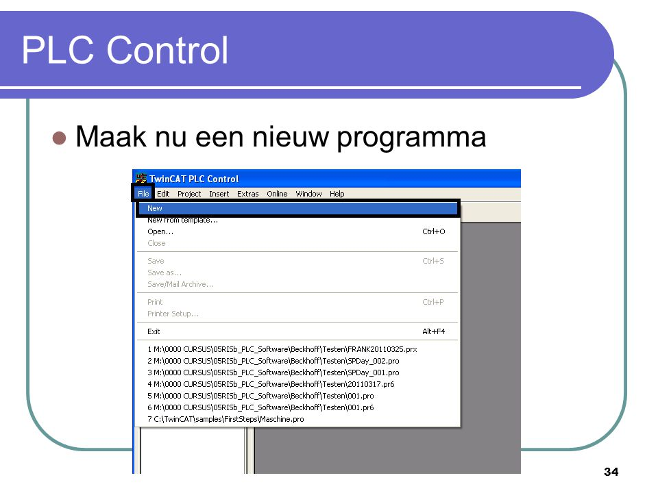 PLC Control Maak nu een nieuw programma