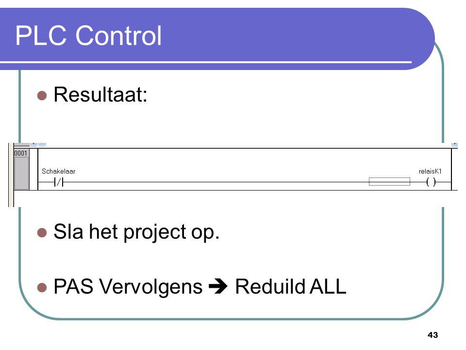 PLC Control Resultaat: Sla het project op.