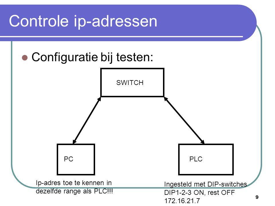 Controle ip-adressen Configuratie bij testen: SWITCH PC PLC