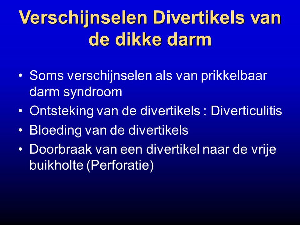 Verschijnselen Divertikels van de dikke darm