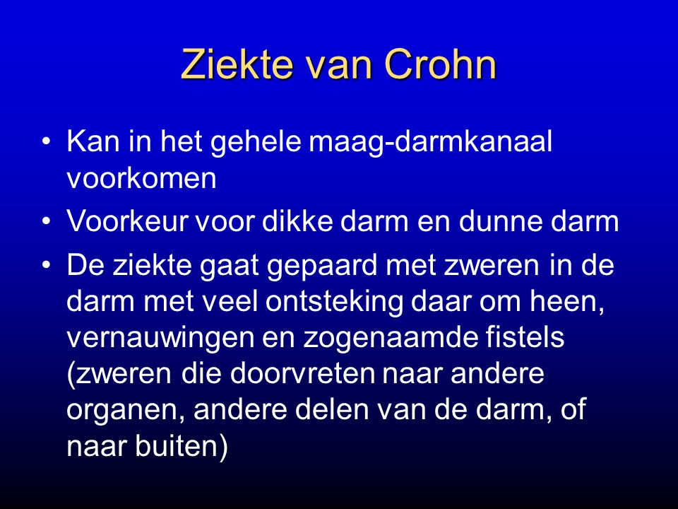 Ziekte van Crohn Kan in het gehele maag-darmkanaal voorkomen