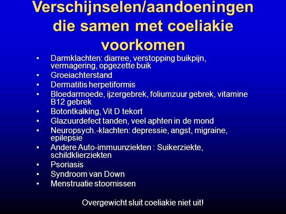 Verschijnselen/aandoeningen die samen met coeliakie voorkomen