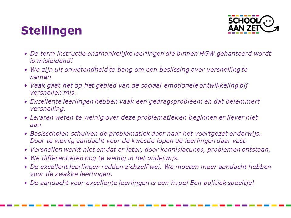 Stellingen De term instructie onafhankelijke leerlingen die binnen HGW gehanteerd wordt is misleidend!