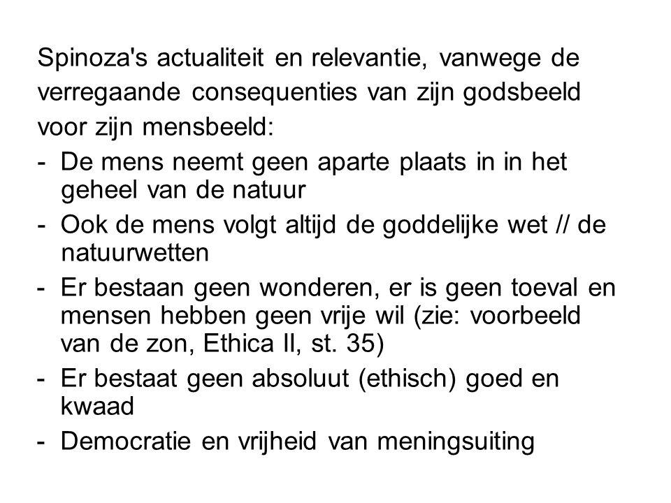 Spinoza s actualiteit en relevantie, vanwege de