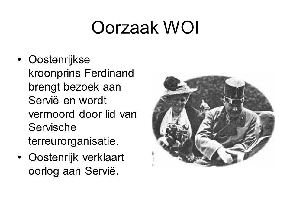 Oorzaak WOI Oostenrijkse kroonprins Ferdinand brengt bezoek aan Servië en wordt vermoord door lid van Servische terreurorganisatie.