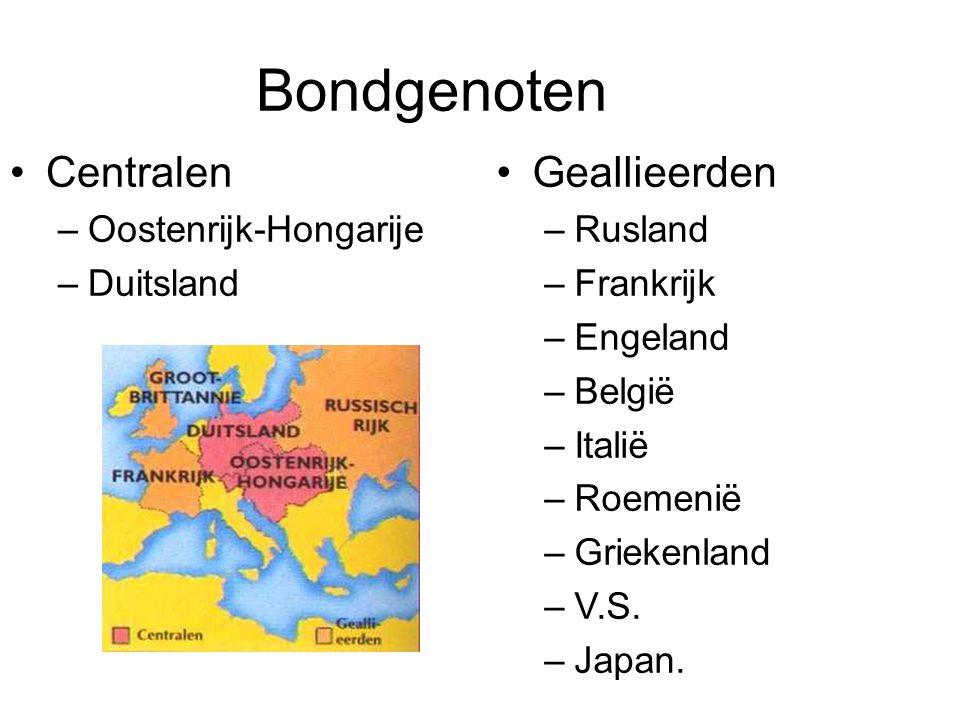 Bondgenoten Centralen Geallieerden Oostenrijk-Hongarije Duitsland