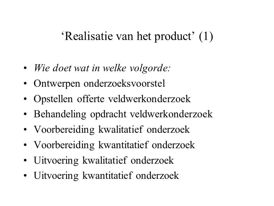 'Realisatie van het product' (1)