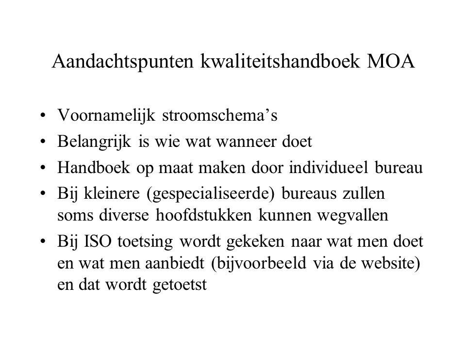 Aandachtspunten kwaliteitshandboek MOA